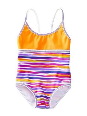Azul Little Girls Purple Orange Stripe Lilac And Stitch One Piece Swimsuit