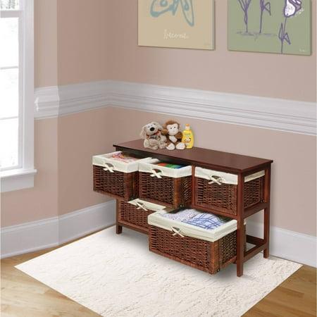 Badger Basket - Wooden Storage Cabinet with Wicker Baskets, Cherry - Badger Basket - Wooden Storage Cabinet With Wicker Baskets, Cherry