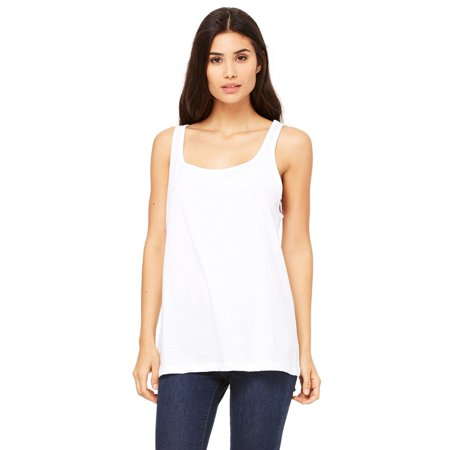 Branded Bella + Canvas Ladies Relaxed Jersey Tank Top - WHITE - S (Instant Saving 5% & more on min 2)