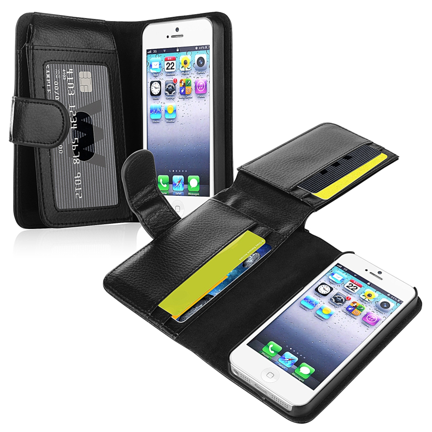 Insten Leather Case with Wallet For Apple iPhone SE / 5 / 5s, Black