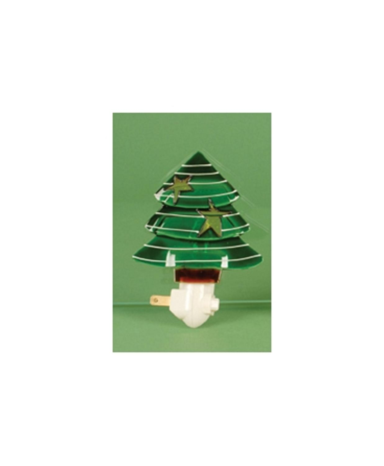 "5"" Christmas Traditions White Striped Green Holiday Tree Night Light by Lynn Roberts"