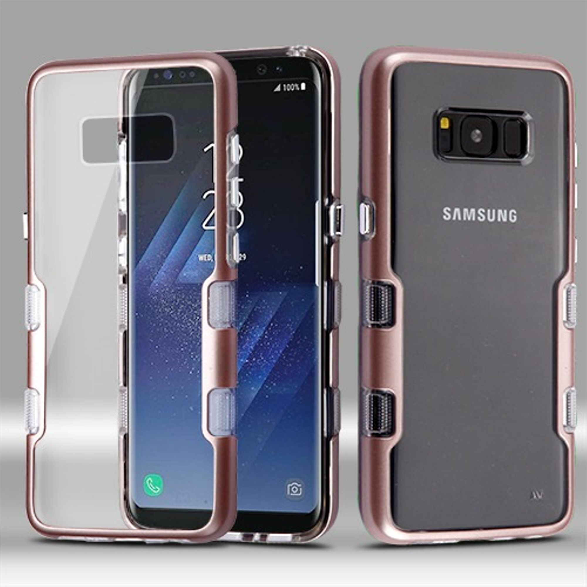 MyBat Transparent Clear TUFF Panoview Hybrid PC/TPU Case For Samsung Galaxy S8 - Rose Gold