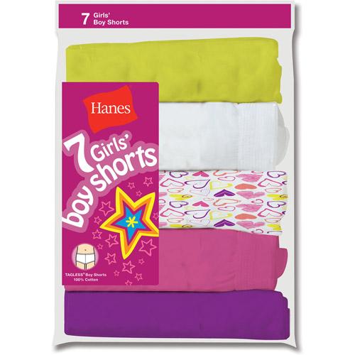 Hanes Girls' Boy Short Panty, 7-Pack