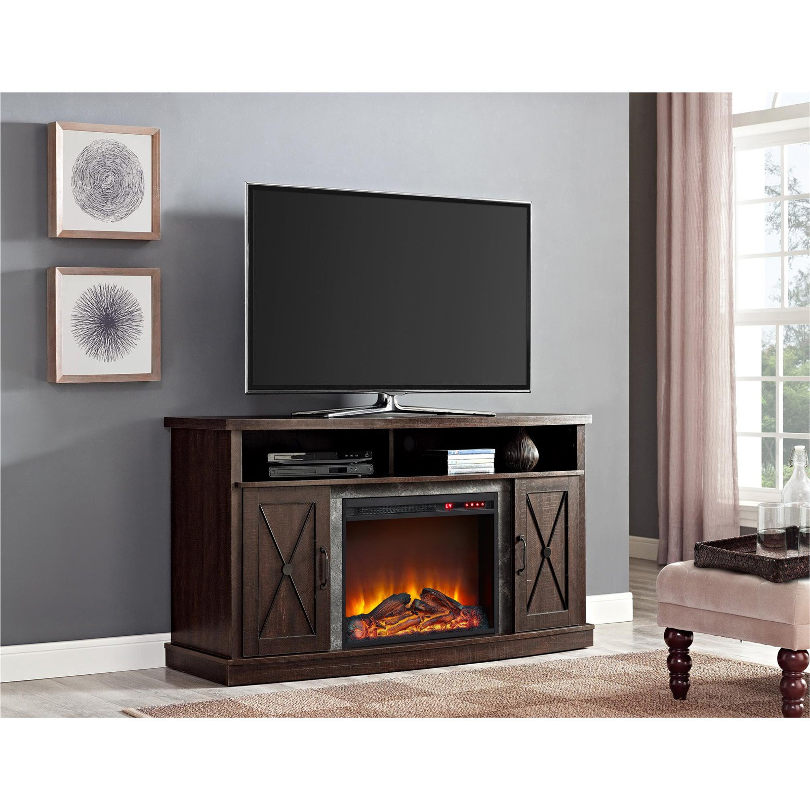 "Ameriwood Home Barrow Creek Electric Fireplace TV Stand for TVs up to 60"", Espresso"