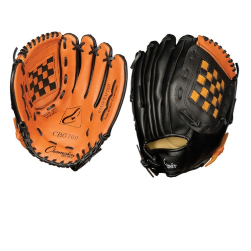 Champion Sports Baseball Softball Fielders Glove for Right Hand, Leather & Vinyl 12'' by Champion Sports