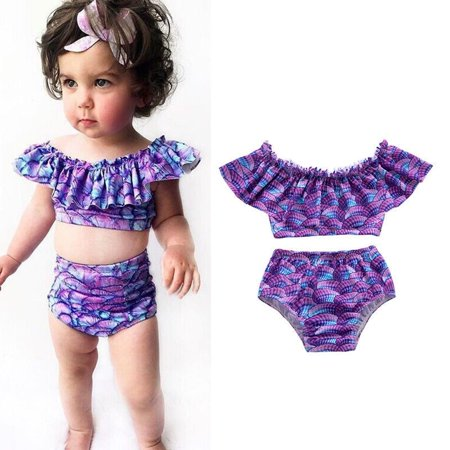7c46409d93a91 Meihuida - Summer Kids Baby Girl Shells Ruffle Bikini Set Swimwear Swimsuit  Bathing Suit - Walmart.com