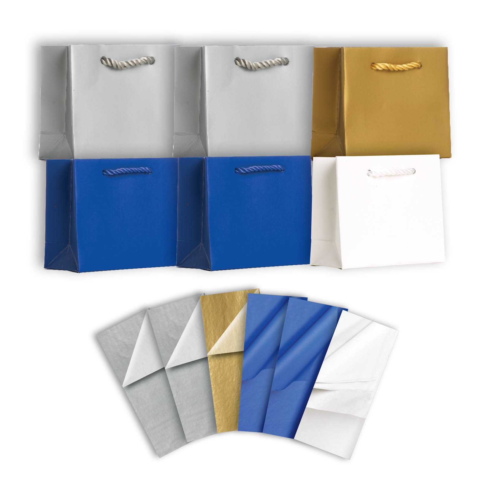 Jillson & Roberts Solid Color Matte Tiny Gift Bag & Tissue Assortment, Hanukkah (6 Bags)