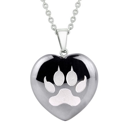 Amulet Wolf Paw Courage Magical Powers Protection Energy Hematite Puffy Heart Pendant 22 Inch Necklace Handmade Puffy Heart