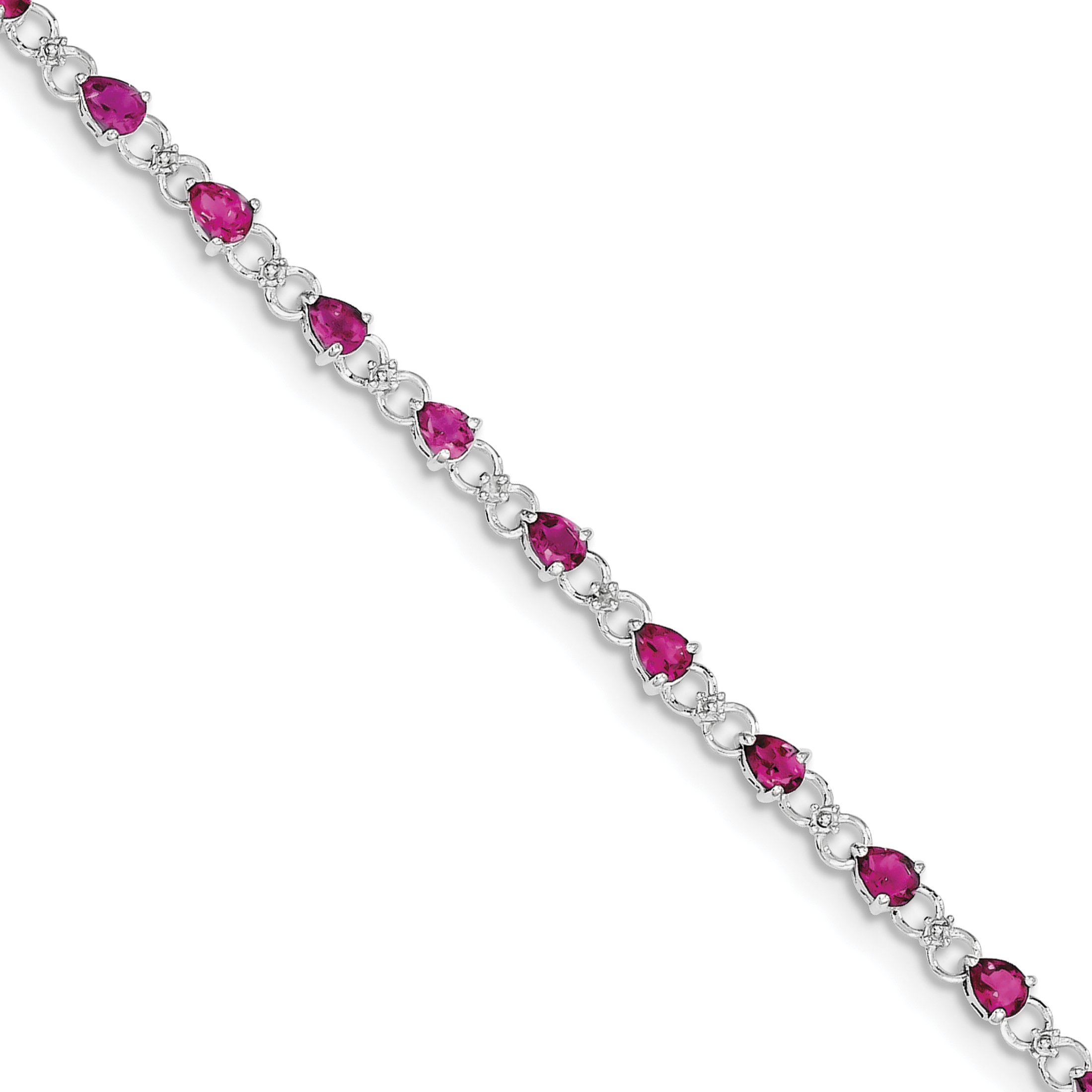 925 Sterling Silver Rhodium-plated Pink Tourmaline and Diamond Bracelet by