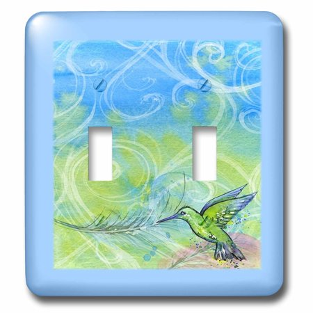 Humminbird Switch - 3dRose Image of Hummingbird With Green And Blue Swirls - Double Toggle Switch