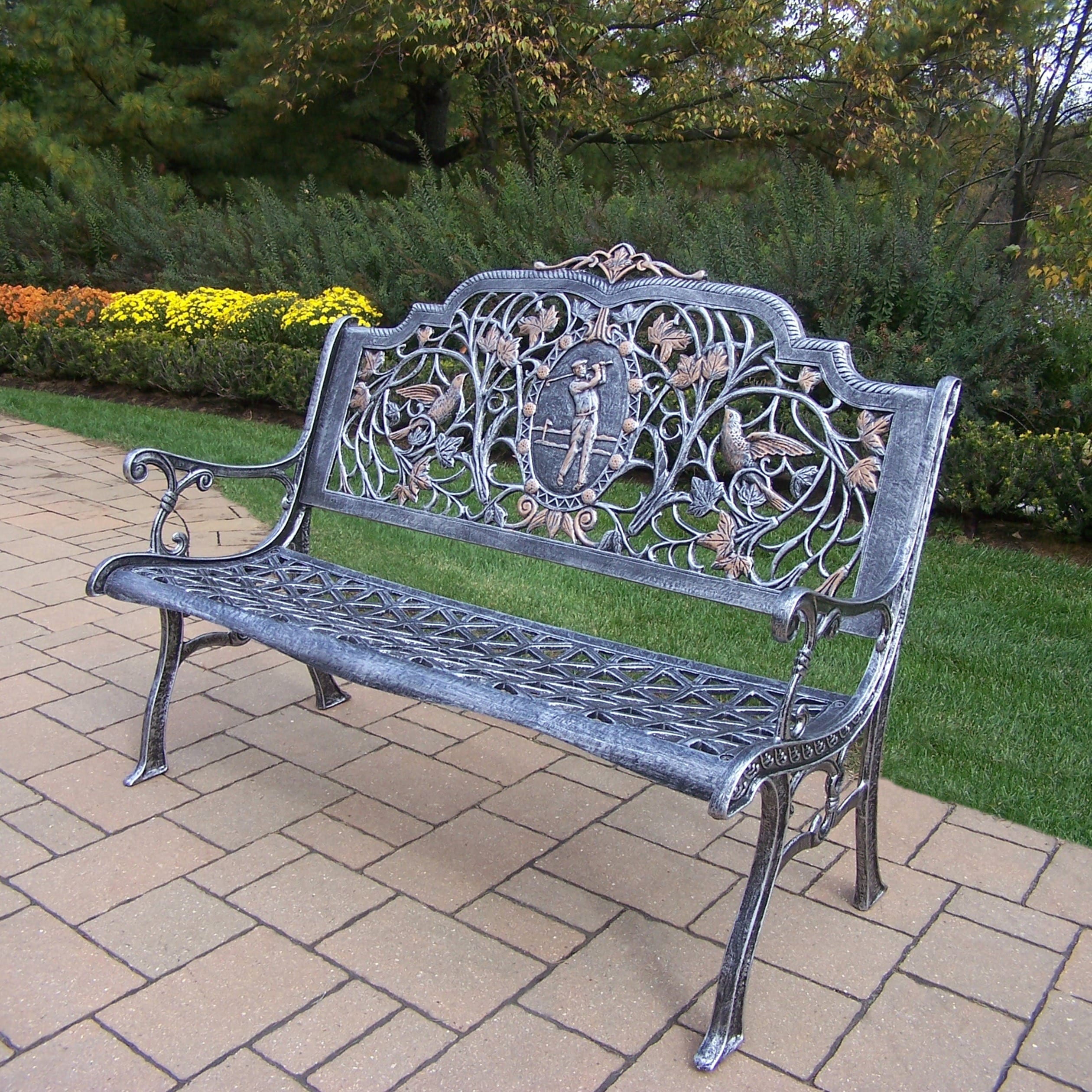 Oakland Living Corporation  Golfer Cast Aluminum Bench