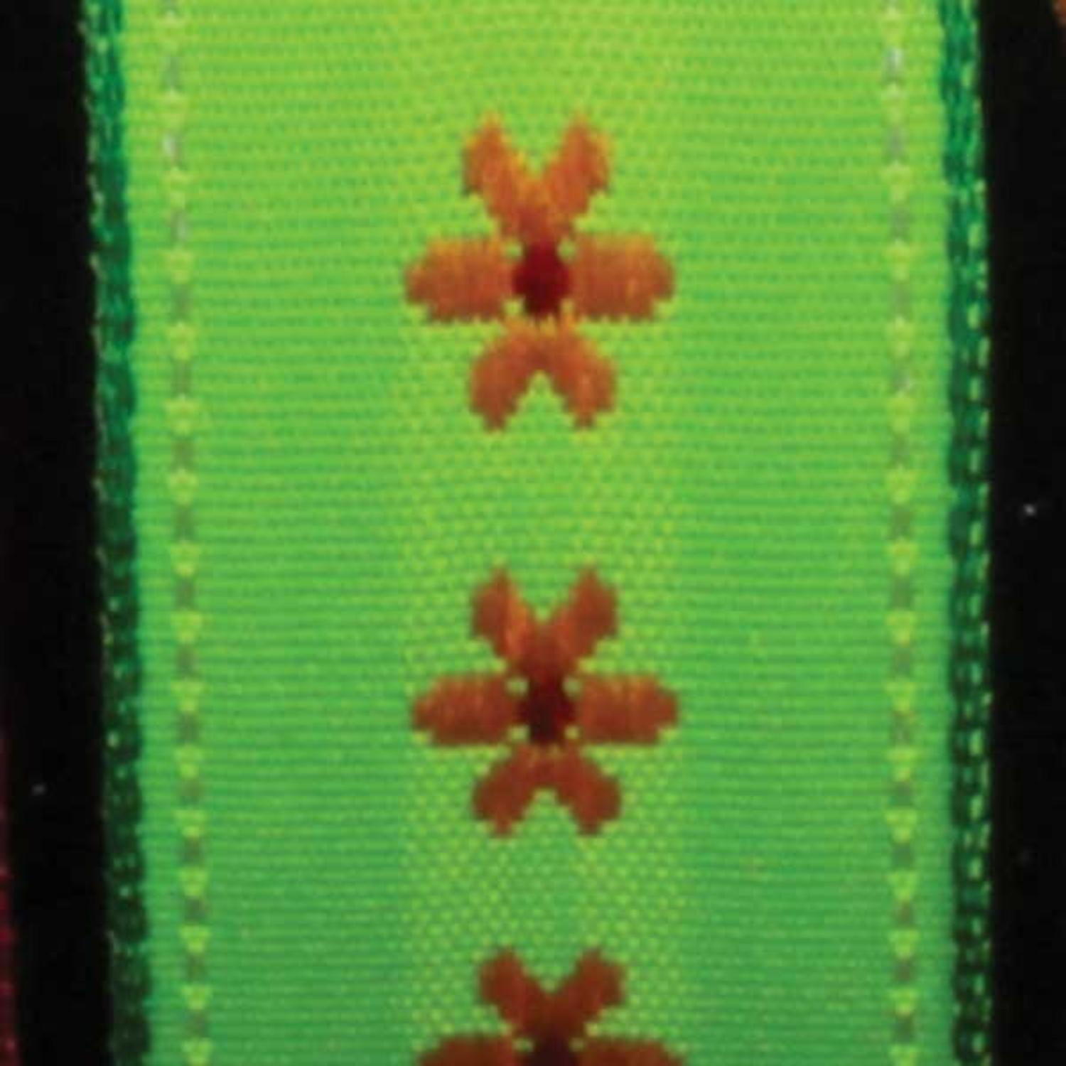 """Dainty Blossoms Green and Yellow Floral Wired Craft Ribbon 7/8"""" x 54 Yards"""