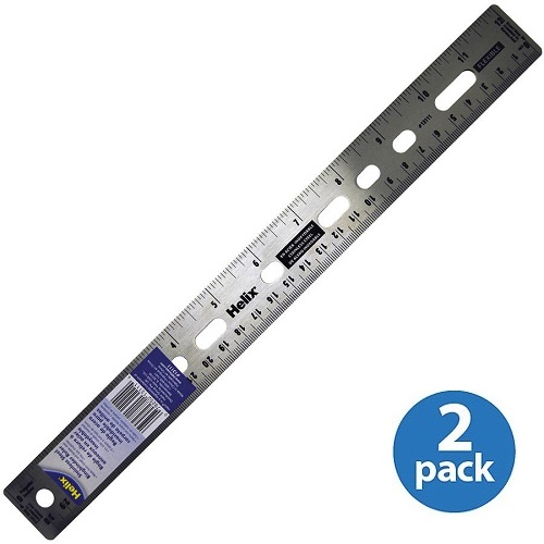 """(2 Pack) Helix, HLXX13111, 12"""" Stainless Steel Ruler, 1 Each, Assorted"""