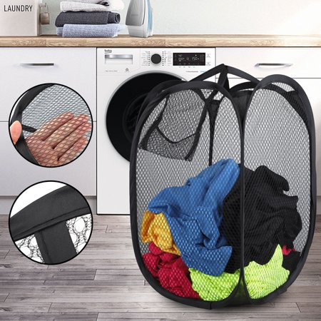 Mesh Popup Laundry Hamper with Portable, Durable Handles, Collapsible for Storage, Folding Pop-Up Clothes Hampers for Kids Room, College Dorm or - Pop Up Clothes Hamper