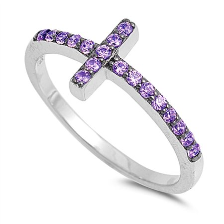 CHOOSE YOUR COLOR Simulated Amethyst Sideways Cross Ring .925 Sterling Silver Christian Band