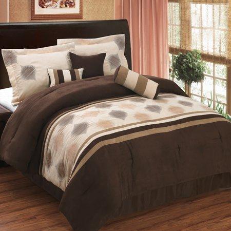 (Queen size Grace Coffee 7-Piece Micro suede comforter set)