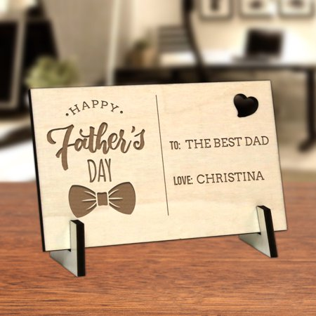 Happy Father's Day Bowtie Custom Wood Postcard