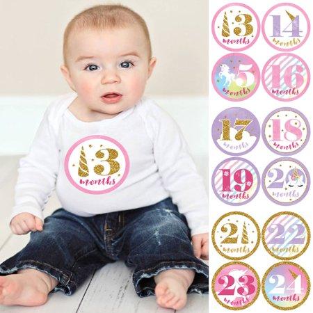 Baby Girl Second Year Monthly Sticker Set - Rainbow Unicorn - Baby Shower Gift Ideas - 13 - 24 Months Stickers - Baby Girl Scrapbook Ideas