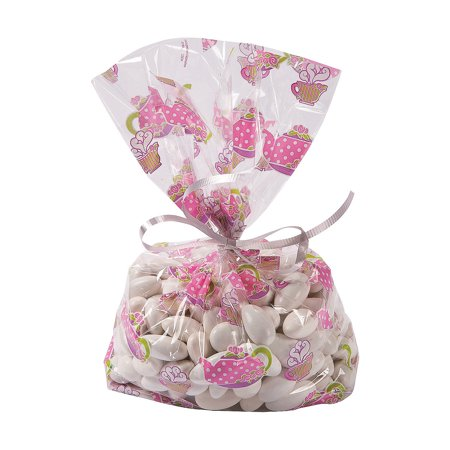 Fun Express - Tea Party Cello Bags for Birthday - Party Supplies - Bags - Cellophane Bags - Birthday - 12 Pieces - Party Mini Cello Bags