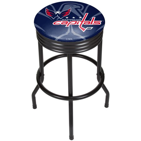 Washington Capitals Locker Room - NHL Black Ribbed Bar Stool - Washington Capitals