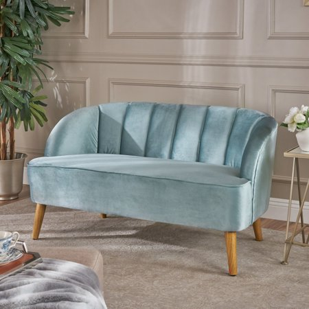 Noble House Modern Velvet Sofa,Seafoam Blue