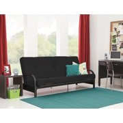 Mainstays Black Metal Arm Futon with Full Size Mattress, Multiple Colors Available