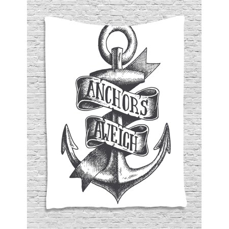Anchor Tapestry Tattoo Style Old Navy Symbol Sketch With Ribbon And