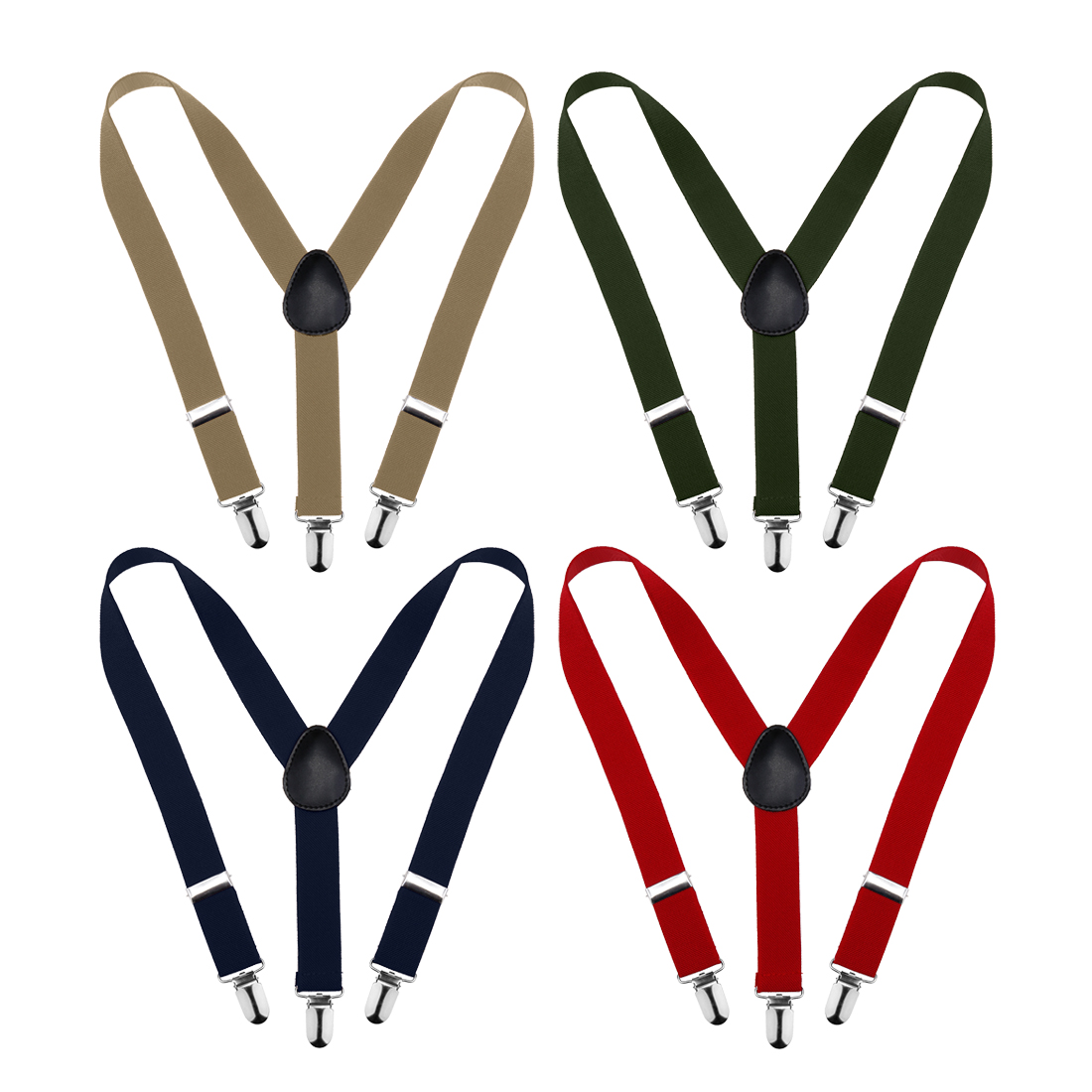 Bundle Monster 4 Pack Easy Clip-On Suspenders for Kids & Toddlers w/ Premium 1-Inch Adjustable Straps Y-Back Stretchy Polyester Skinny for Boys & Girls - Various Colors w/ Metal Clips