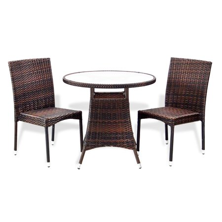 SK New Interiors Outdoor Patio Set of 2 Wicker Garden Side Chairs and Dining Round Table Modern Design, Dark Brown ()