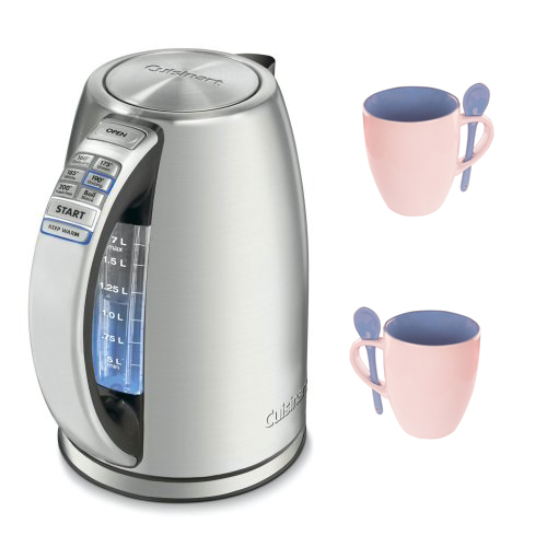 Cuisinart Perfectemp Cordless Electric Kettle (Refurbished) with 4pcs Mug Set