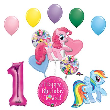 My Little Pony Pinkie Pie and Rainbow Dash 1st Birthday Party Supplies and Balloon Decorations - My First Birthday Party Supplies