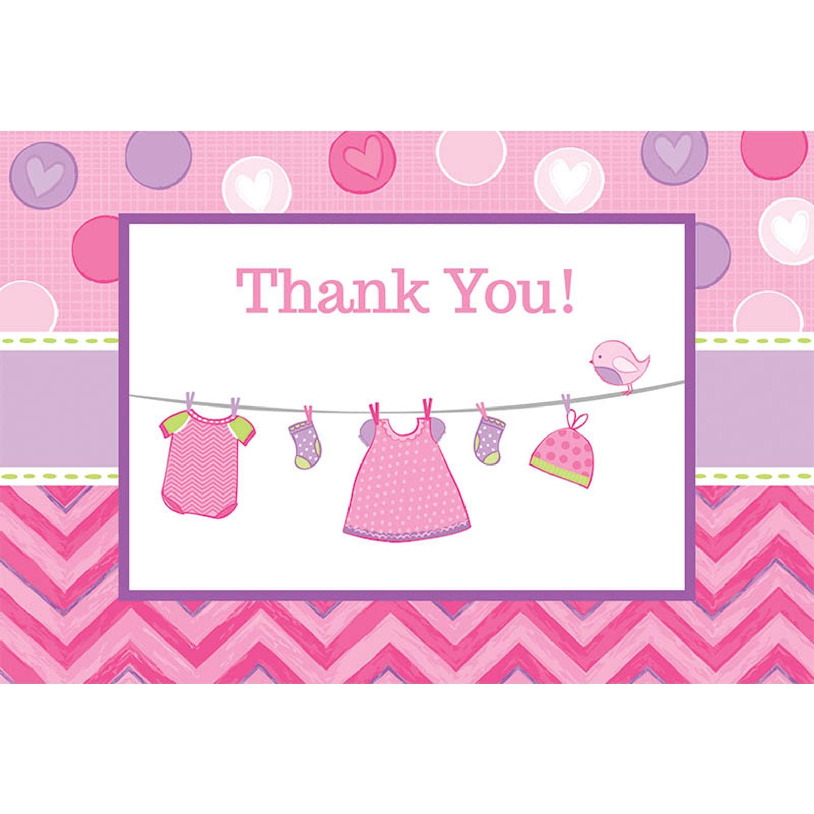 baby shower girl shower with love thank you notes pack of 8 walmartcom