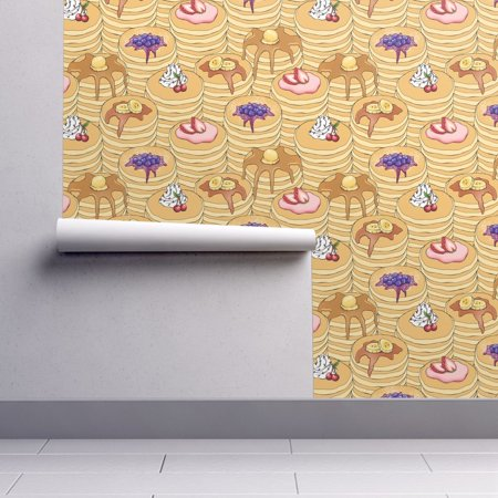 Removable Water-Activated Wallpaper Pancake Breakfast Hotcake Breakfast Kawaii