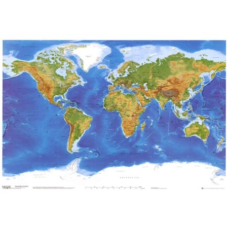 Satellite Physical Map of The World Poster - 36x24