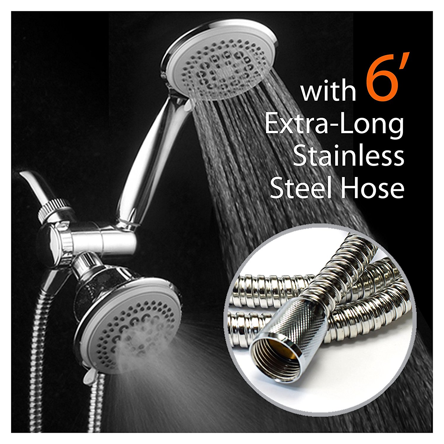 DreamSpa® Ultra-Luxury 36-Setting 3-Way Shower Combo with Extra-Long 6-foot Stainless Steel Hose