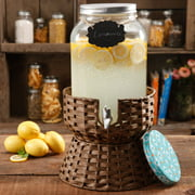 The Pioneer Woman Simple Homemade Goodness 2-Gallon Drink Dispenser with Wicker Stand, Mini Chalk Board with Chalk Pencil