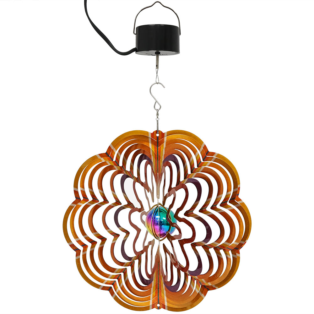 Sunnydaze Reflective Gold Dust 3D Whirligig Wind Spinner with Hook, 12-Inch, Electric Powered Motor