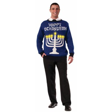 Chanukah Light Up Ugly Sweater Christmas Adult Menorah Costume Top
