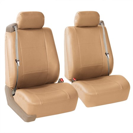 FH Group Faux Leather Bucket Seat Covers, Pair, For Integrated Seat Belts / Built-in Seat Belt, Side Zipper, Tan