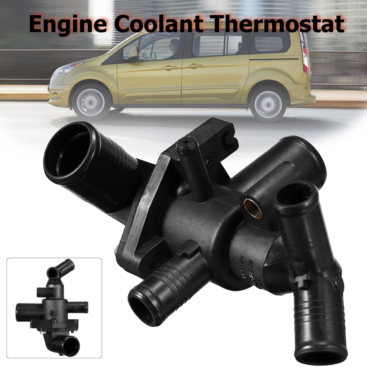 Engine Coolant Thermostat w// Housing For 16-12 Ford Transit MK7 2.4 TDCi 1432394