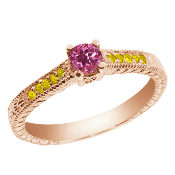 0.33 Ct Round Pink Tourmaline Simulated Citrine 18K Rose Gold Engagement Ring by