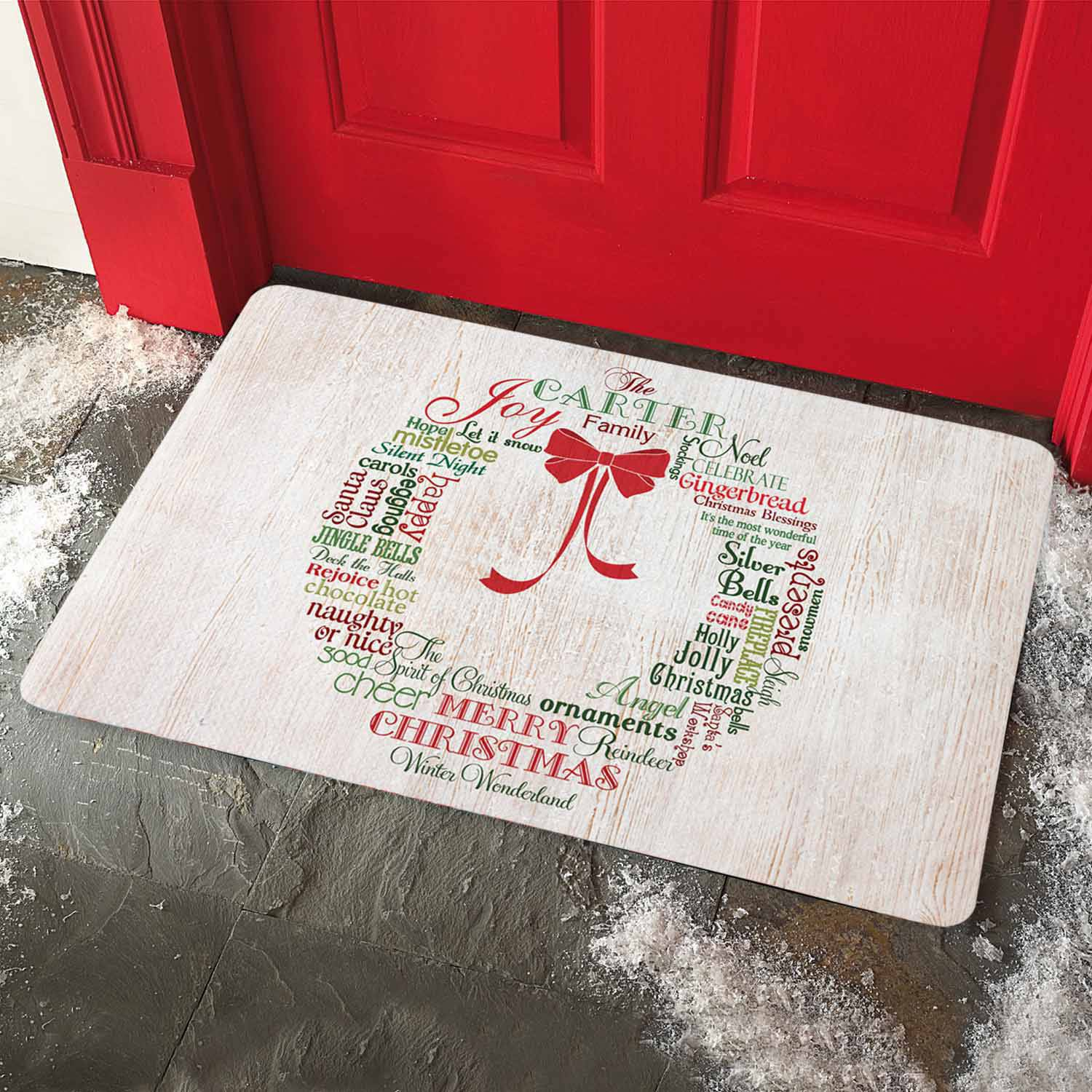 Personalized Christmas Wreath Doormat & Personalized Christmas Wreath Doormat - Walmart.com