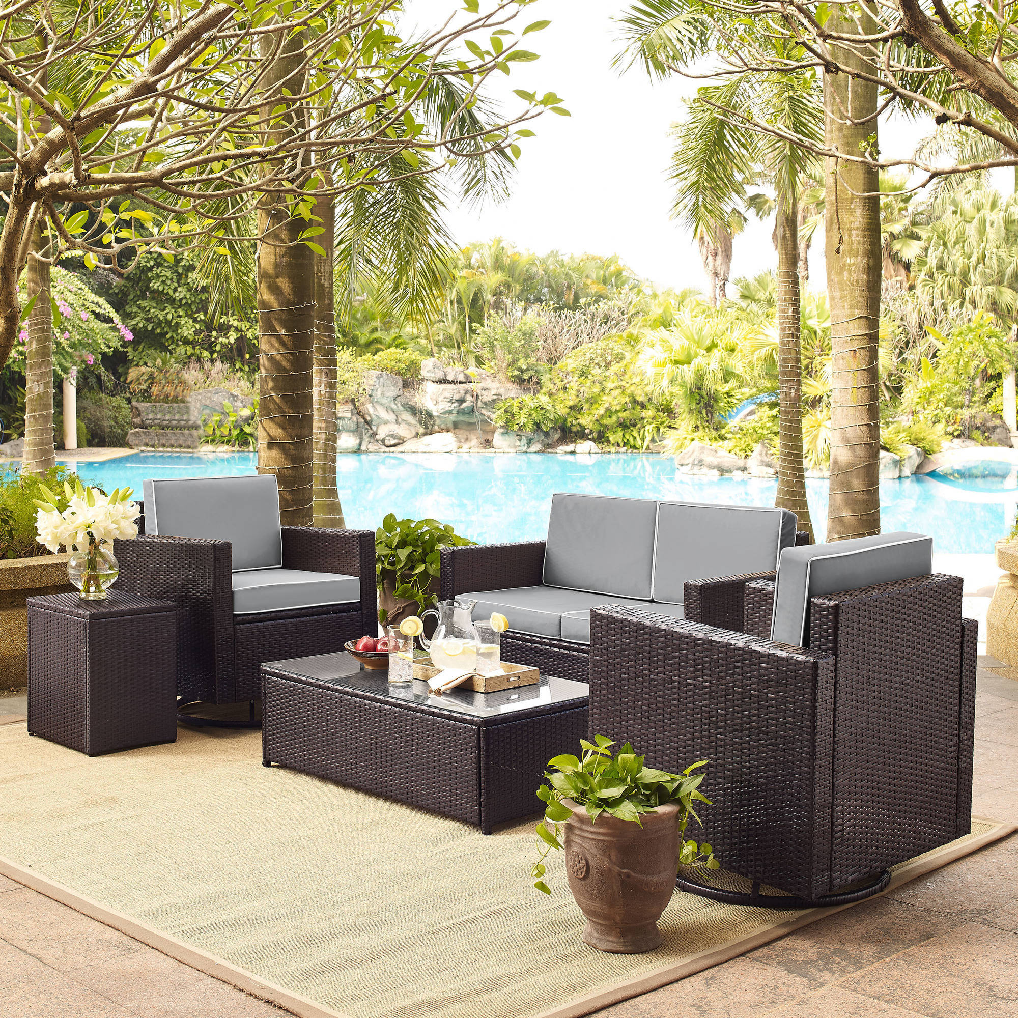 Palm Harbor 5 Piece Outdoor Wicker Conversation Set With Grey Cushions Loveseat Two Swivel Chairs Side Table Gl Top