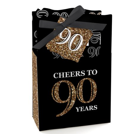 Adult 90th Birthday - Gold - Birthday Party Favor Boxes - Set of 12 - 90th Birthday Color
