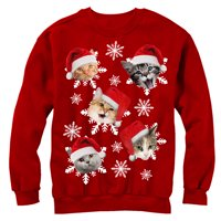 product image mens ugly christmas sweater cat snowflakes sweatshirt - Cheap Mens Ugly Christmas Sweater