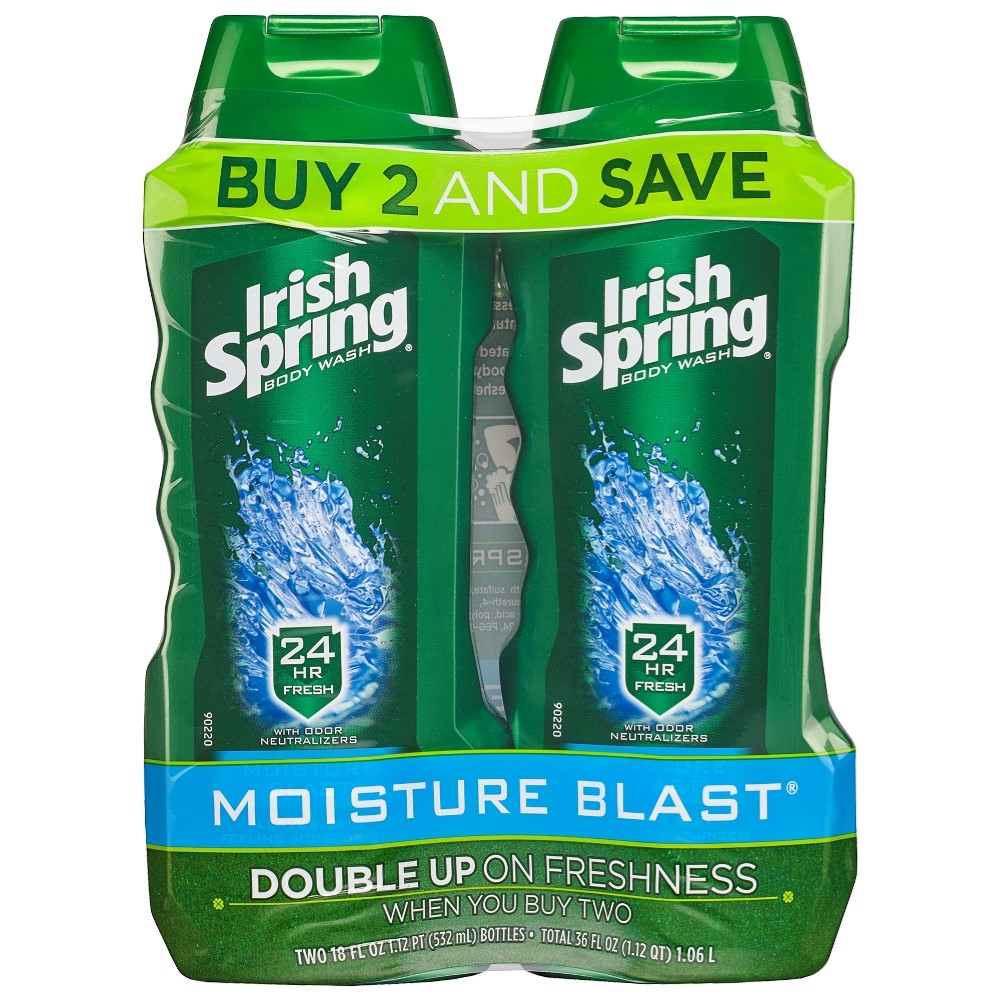 Irish Spring Moisture Blast Moisturizing Body Wash, 18 Oz, 2 Ct