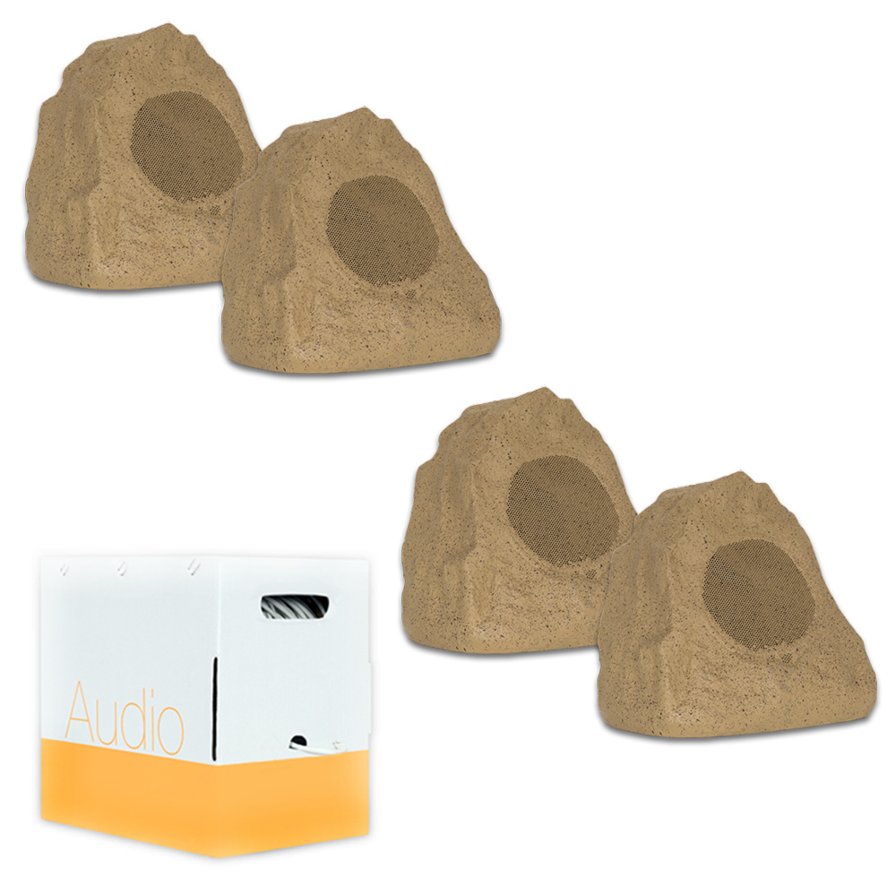 Theater Solutions 4R4S Outdoor Sandstone Rock 4 Speaker Set with Wire for Deck Pool Spa Patio Garden
