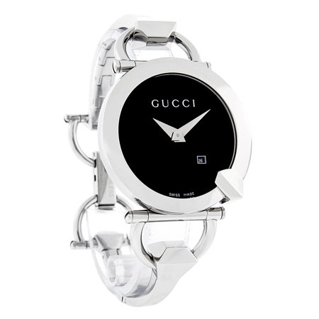 4efcb87756c Gucci - Gucci Chiodo Black Guilloche Dial Stainless Steel Bangle Ladies  Watch YA122502 - Walmart.com