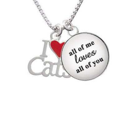 (I Love Cats with Red Heart All of Me Loves All of You Glass Dome Necklace, 18