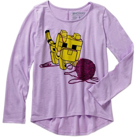 Minecraft Girls' Baby Ocelot and Yarn Long Sleeve crew Neck Graphic Tee